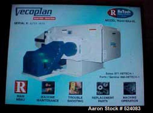 "USED: Retech model RG42U/60-XL single rotary shredder. Manufactured2005. (50) 40 mm x 40 mm cutter knives on 15""OD 120 rpm r..."