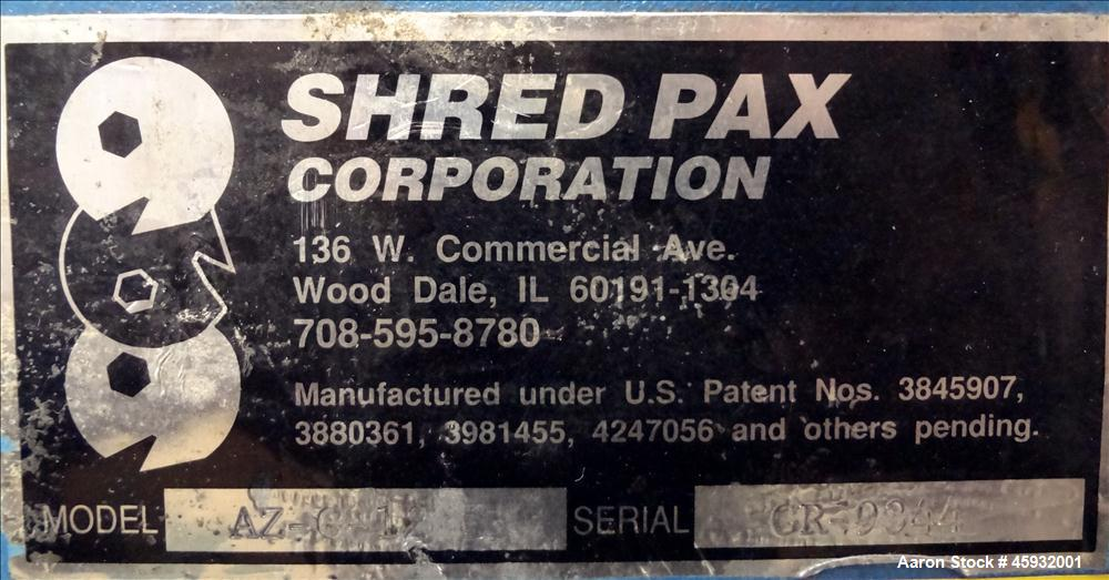 Used- Shred Pax Dual Rotor Shredder Grinder System consisting of: (1) Shred Pax Grinder, Model AZ-G-12. Has a top feeder 31-...