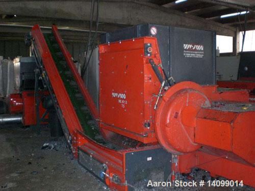 Used-Weima WLK 12 Single Shaft Shredder for pre-shredding.  Motor 100 hp (75 kW).  Feed opening 6.2' x 5.9' (1920 x 1800 mm)...