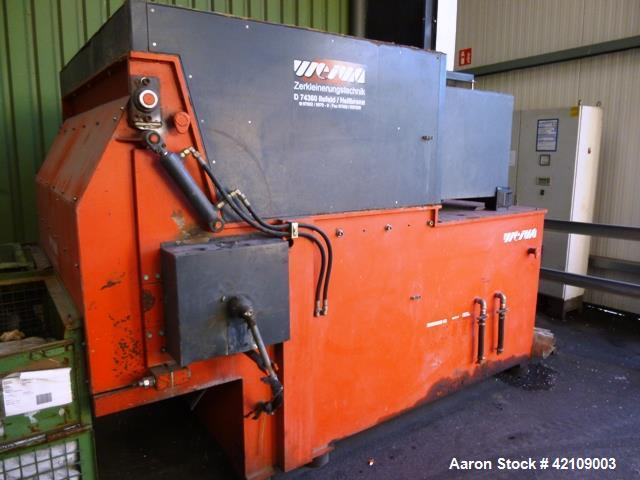 "Used- Wiema Single Rotor Shredder, Model WLK 18. Approximately 18.7"" (482 mm) diameter x 70.2"" (1800 mm) wide rotor with bol..."