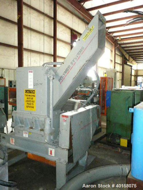 "Used- Polymer Systems 16"" X 26"" Scrap Grinder, model 1626. 3 knife open rotor with scissors cut. Includes 100 hp motor, stan..."