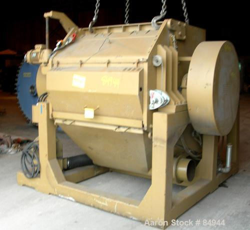 """USED: Granulator. 48"""" x 28"""" feed opening with bolt-on hopper, approx 48"""" wide 3 rows of 2 bolt-on slanted blades, open rotor..."""