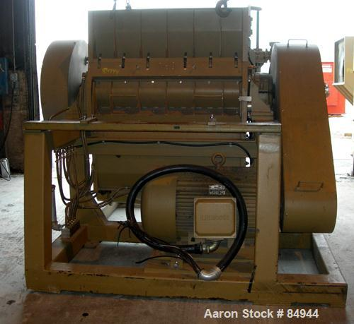 "USED: Granulator. 48"" x 28"" feed opening with bolt-on hopper, approx 48"" wide 3 rows of 2 bolt-on slanted blades, open rotor..."