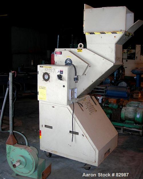 "USED: Ball and Jewel granulator, model CG-812. Approximately 8"" diameter x 12"" wide 3 bolt-on blade open rotor, 2 bed knives..."
