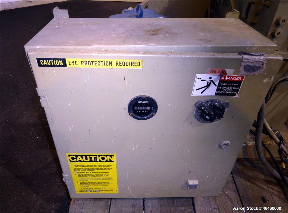"Used- Ball & Jewell Granulator Model MD-1620-SCSX. Approximate 16"" diameter x 20"" wide 3 blade open rotor, tilt back pelican..."