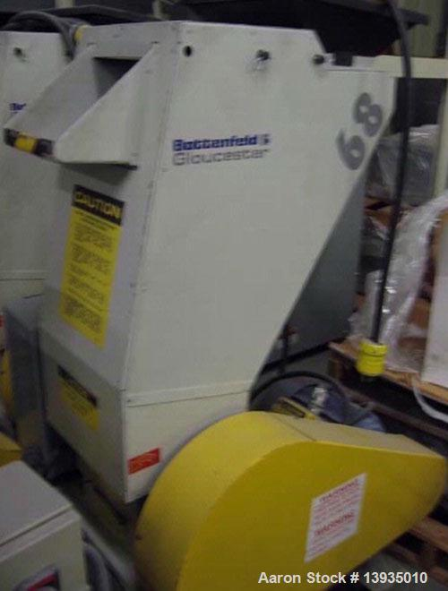 "Used-2000 Battenfeld Gloucester Model 68-BP-5. Throat opening size 8"" x 6"", 2 rotor knives, 1 bed knife, 5 hp, rides on cast..."