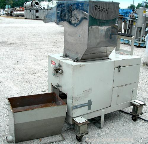 "USED: Conair/Wor-Tex granulator, model JC10. 10"" diameter x 15"" wide. (2) Rows of 6 bolt-on blade closed rotor, 2 bed knives..."