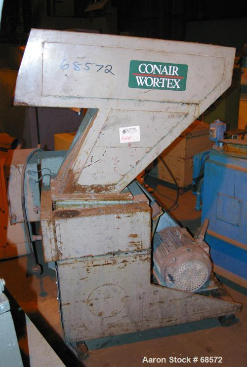 "USED: Conair/Wortex model 1412-201-03-B grinder. 12"" wide, 3 bolt-on blade open rotor. 12"" x 14"" pelican style feed hopper. ..."