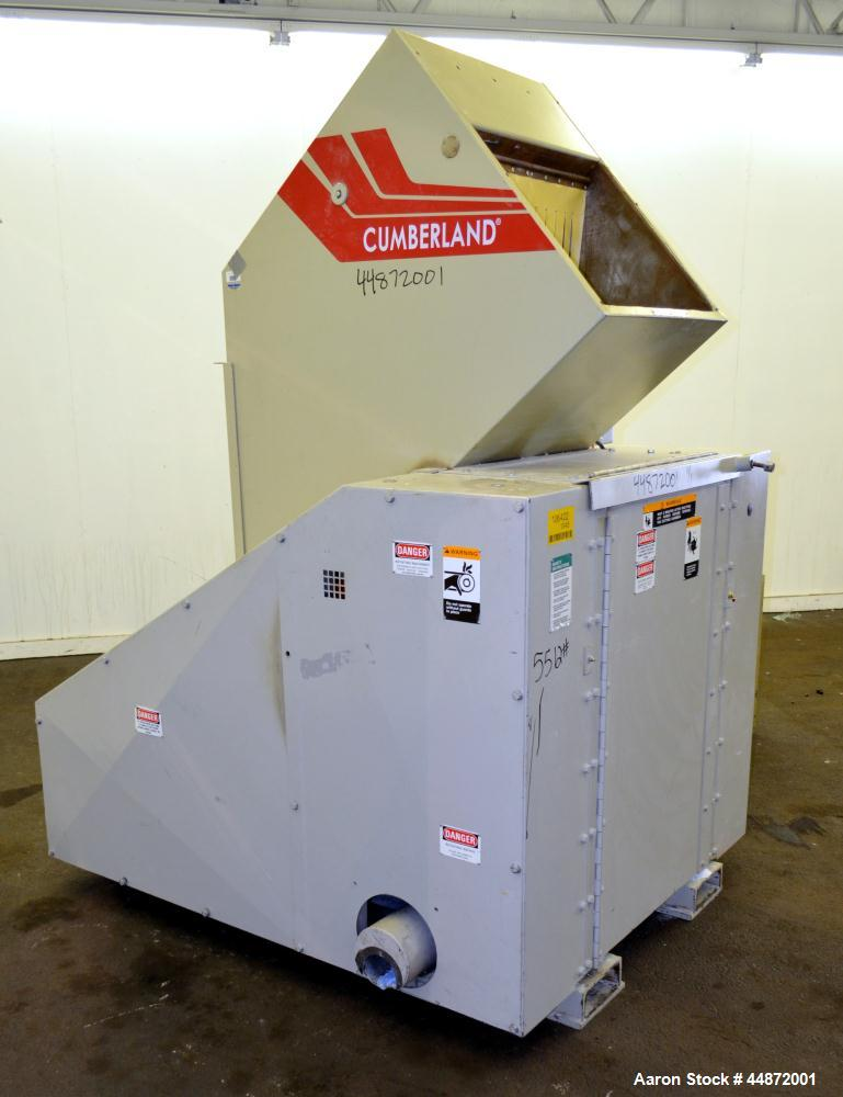 "Used- Cumberland Granulator, Model 18x24. Approximate 18"" X 24"" Feed throat with a front and back feed hopper, 20"" diameter ..."