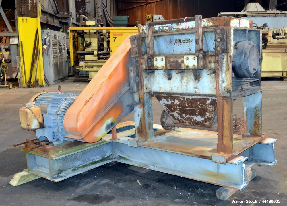 "Used- Cumberland Granulator, Model 18X37-5KN. Approximate 18"" x 37"" feed opening, no hopper. Approximate 16"" diameter cuttin..."