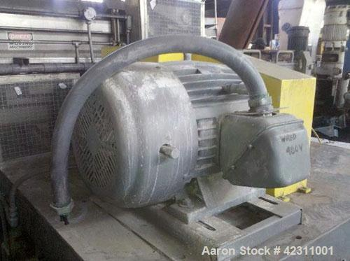 Used- Cumberland Granulator, Model 24B. Approximate 14'' x 24'' feed opening with hopper. 3 Knife open rotor, bottom dischar...