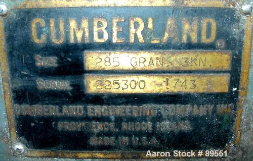"USED: Cumberland granulator, model 285-GRAN-3KN. Approximate 8"" diameter x 12"" wide 3 bolt-on blade open rotor, bed knives. ..."