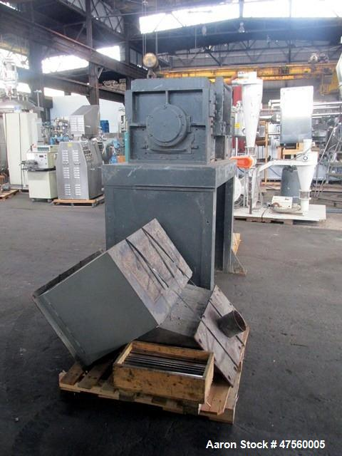 """Used- Cumberland Granulator, Model 37. Approximate 18"""" x 37"""" feed opening with standard tray feed hopper. 3 Knife open rotor..."""