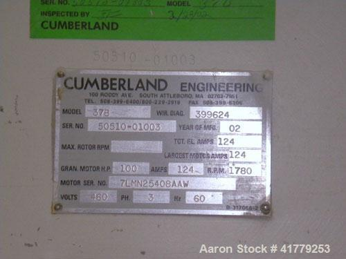 "Used- Cumberland Granulator, Model 37B. Approximate 18"" x 37"" feed opening with hopper, 3 knife rotor, bottom discharge. Dri..."