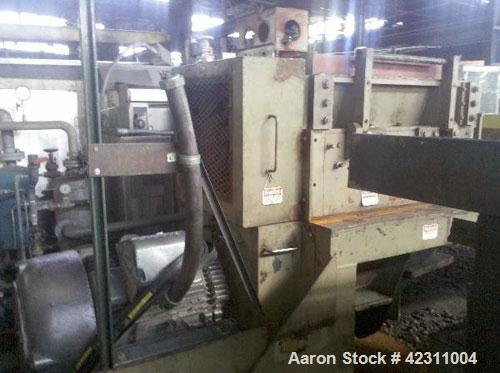 """Used- Cumberland Granulator, Model 37B. Approximate 21"""" x 37"""" feed opening with hopper. 3 Knife open rotor, bottom discharge..."""