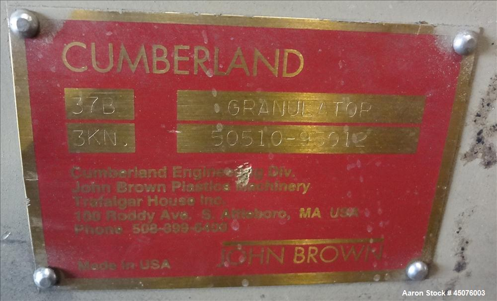 "Used- Cumberland Granulator, Model 37B-3KN. Approximate 21-1/4"" x 37-7/16"" Feed opening with bolt on hopper. Approximate 16""..."