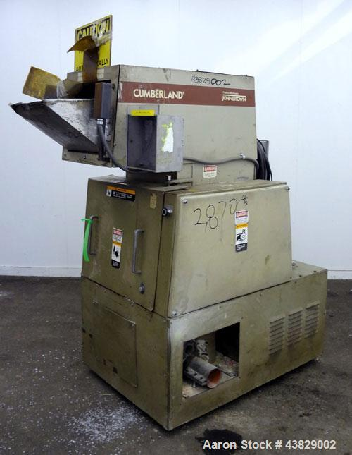 "Used- Cumberland Granulator, Model 484-3KN. Approximately 16"" x 14"" feed opening with tilt back pelican hopper. 3 Bolt-on bl..."