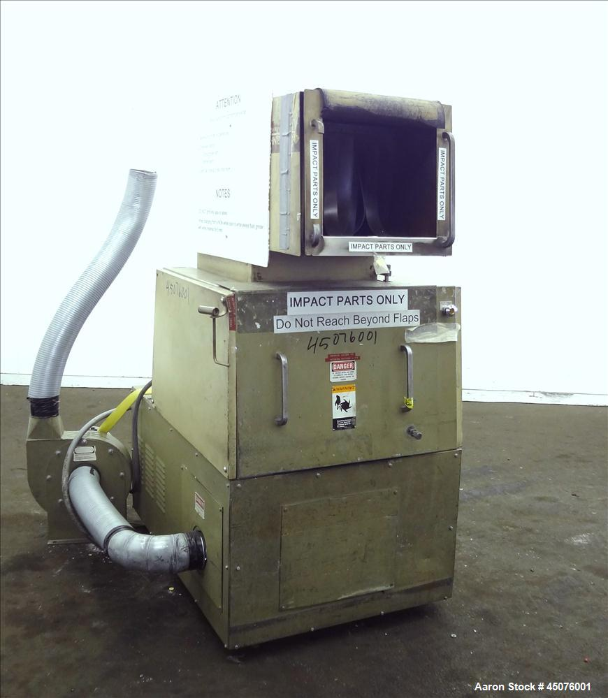 """Used- Cumberland Granulator, Model 484-3KN. Approximate 16"""" x 14"""" feed opening with tilt back pelican hopper. 3 Bolt on blad..."""