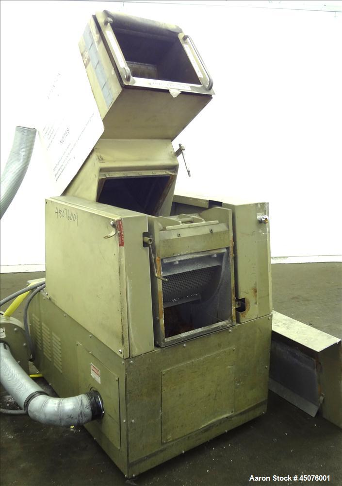 "Used- Cumberland Granulator, Model 484-3KN. Approximate 16"" x 14"" feed opening with tilt back pelican hopper. 3 Bolt on blad..."