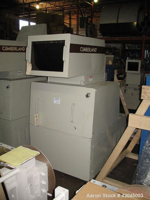 "Used- Cumberland model 584 granulator. Unit is equipped with a 3 knife open rotor and two bed knives, 14"" x 20"" cutting cham..."