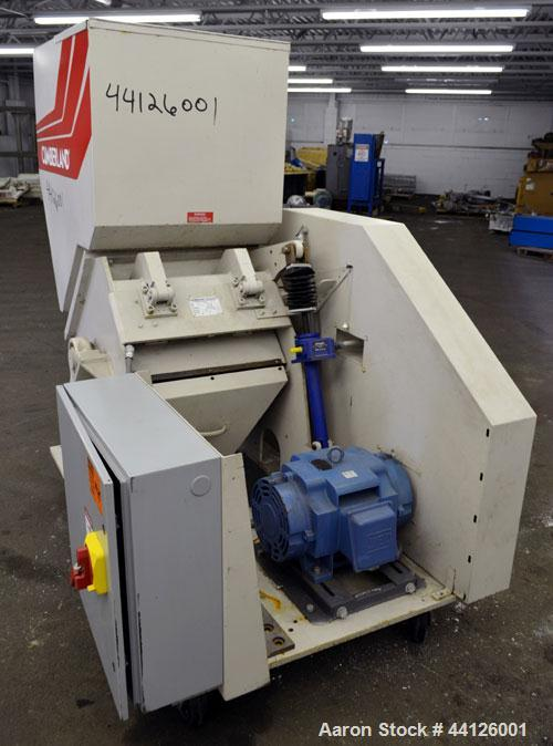 "Used- Cumberland Grinder, Model G1624, Carbon Steel. Approximately 16"" x 24"" feed opening with a manual tilt back pelican st..."
