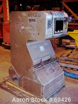 "Used- Cumberland Granulator, Model SP185. 7"" Diameter x 10"" wide 2 bolt-on blade closed rotor. Pelican style feed hopper, bo..."