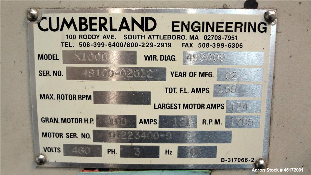Used- Cumberland Granulator, Model X1000