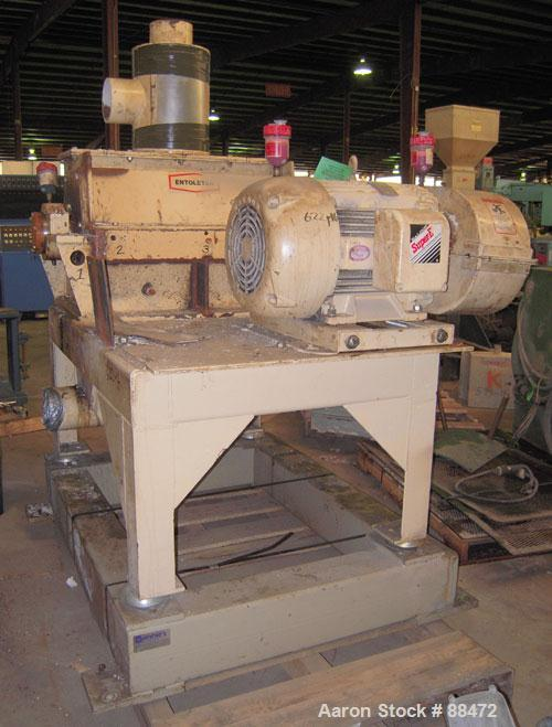 """Used- Entoleter Film Grinder, Model 1530F. Approximate 15"""" diameter x 30"""" wide 7 blade open rotor. Approximately 8"""" x 30"""" fe..."""