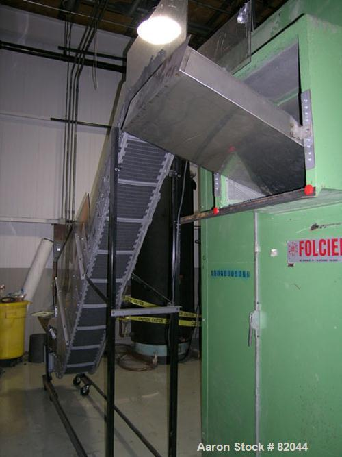 "USED: Bruno Folcier plastics granulator system consisting of (1) model 1000X800X630. Approx 16"" diameter x 24"" wide open rot..."