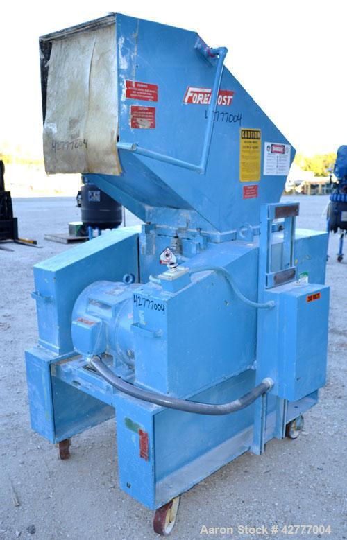 "Used- Foremost Granulator, Model HD5. Approximate 20"" long 2 bolt on blade open rotor. Tilt back pelican feed hopper. Driven..."