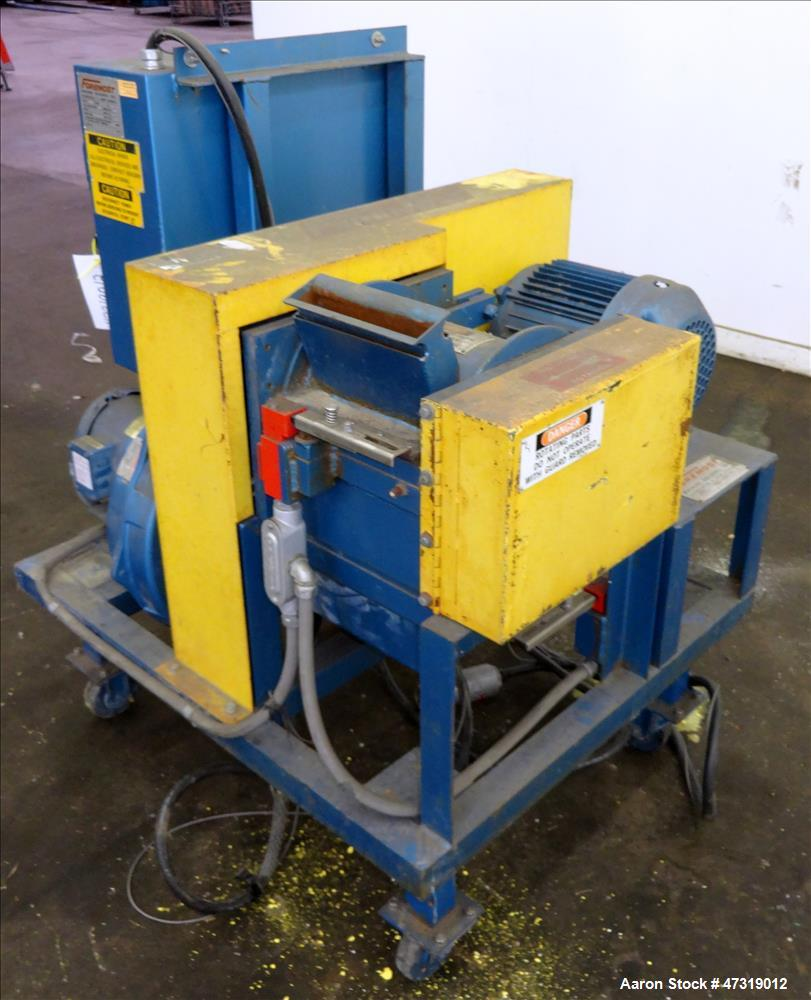 """Used- Foremost Hot Melt Granulator, Model HMG-1008. 10"""" x 8"""" feed throat. (4) Bolt-on blade open rotor. Inlet size 8"""" x 1"""". ..."""