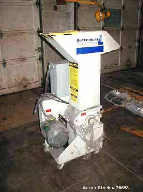 "Used- Gloucester Granulator. 6"" x 8"" Feed opening. (2) Fly knives, (1) bed configuation. 5 hp motor. Portable on wheels."