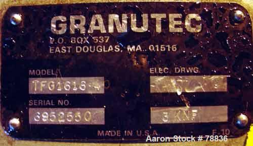 """USED: Granutec granulator, model TFG1616.4. Open rotor, 3 bolt-onknives 16"""" long x 4"""" wide, 1/4"""" screen holes, 12"""" x 16"""" sid..."""