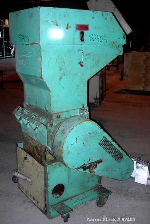 "USED: Hamilton/Tria grinder, model 46-25-TD. Approximately 10"" diameter x 18"" wide 6 bolt-on staggered blades, open rotor, (..."