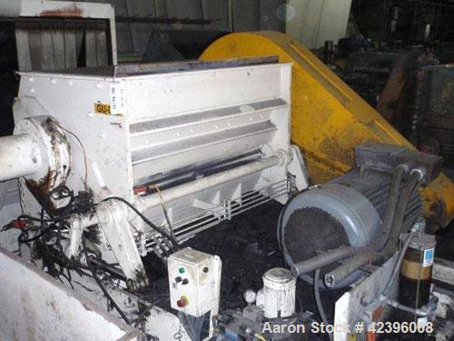 """Used- Herbold Granulator, Type SM-800/1600 H7-3. 61.41"""" x 37"""" Feed opening with hopper. (7) Blade open rotor, approximately ..."""