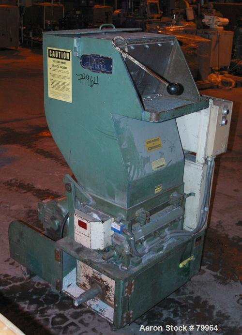 """USED: IMS granulator model LP-187. 2 bolt-on blade open rotor, 2 bedknives, pelican style feed with a 17"""" wide x 14"""" tall fe..."""