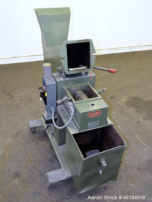 """Used- IMS Plastic Grinder, Model M-3, Carbon Steel. Approximate 6"""" diameter x 7"""" wide feed opening with a tilt back pelican ..."""
