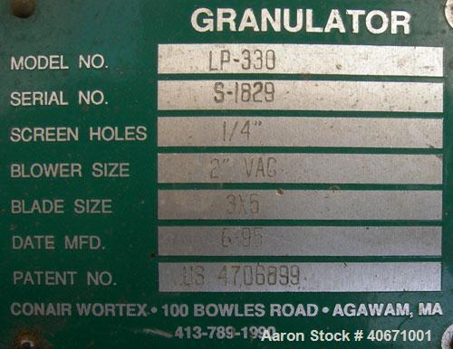 """Used-Conair/Wortex Granulator, model LP-330. Approximate 6"""" diameter x 7"""" wide segmented helical type rotor with 3 rows of 5..."""