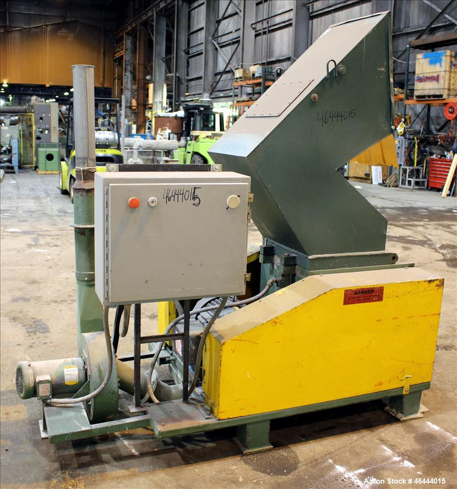"Used- L-R Systems Granulator, Carbon Steel. Approximate 20"" x 17"" feed opening with a tilt pelican style feed hopper. (2) Bo..."