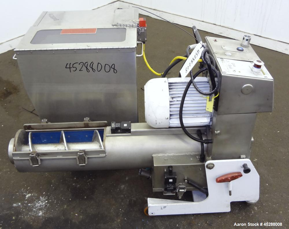 Used- Carbon Steel Plastic Recycling Machinery Auger Fed Granulator, Model MGK40