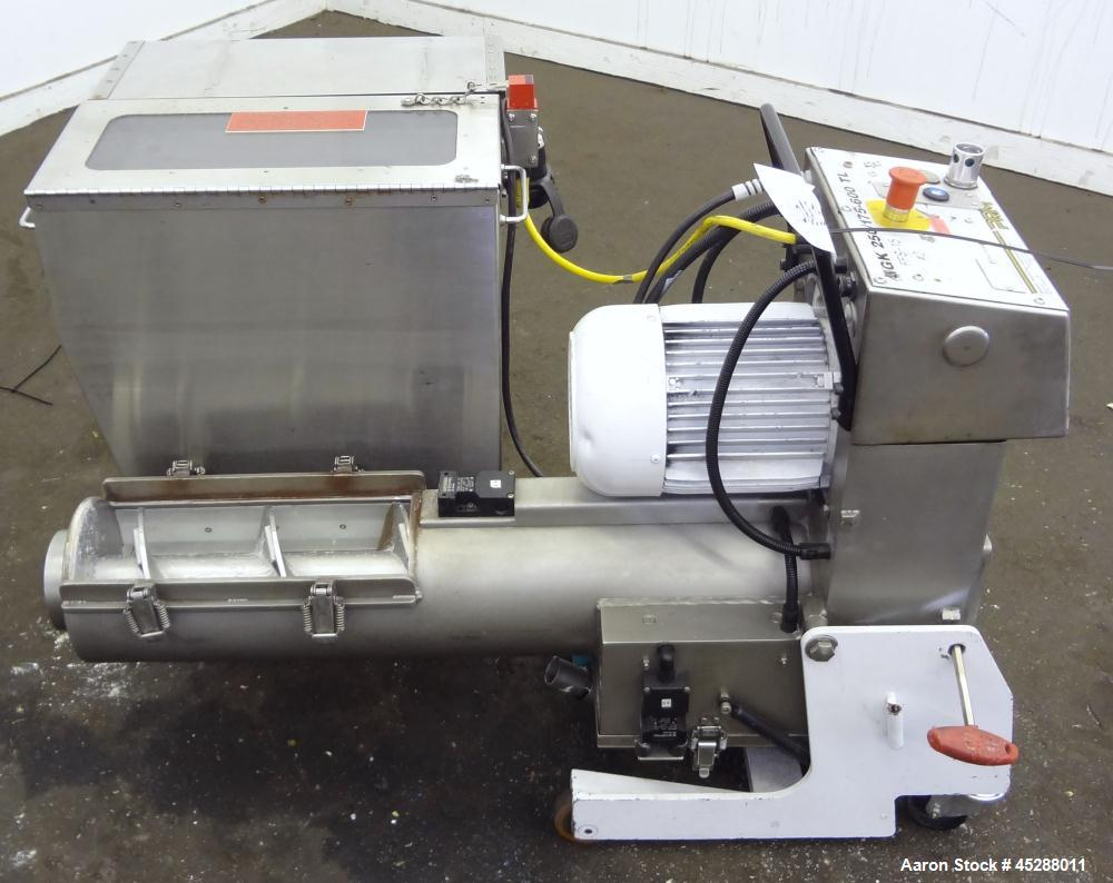 Used- Stainless Steel Plastic Recycling Machinery Auger Fed Granulator, Model MG