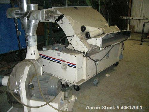 "Used- MPG Sheet Grinder, Model F56HB. Approximately 6"" x 55"" wide feed with motorized tilt hopper and pull rolls, driven by ..."