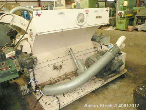 """Used- MPG Sheet Grinder, Model F56HB. Approximately 6"""" x 54"""" wide feed with motorized tilt hopper and pull rolls, driven by ..."""