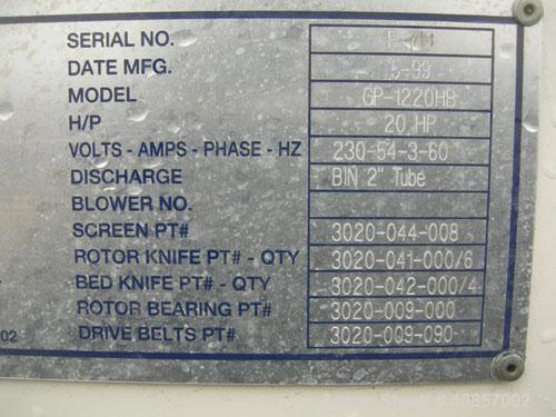 """Used- MPG Granulator, Model GP-1220HB. Approximately 10"""" diameter x 24"""" wide, 3 rows of 2 bolt on slanted blade open rotor. ..."""