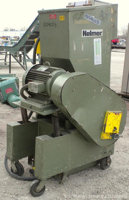 "Used- Nelmore Granulator, Model 1215M1. Approximately 12"" diameter x 15"" wide 3 bolt-on blade open rotor. Tilt back pelican ..."