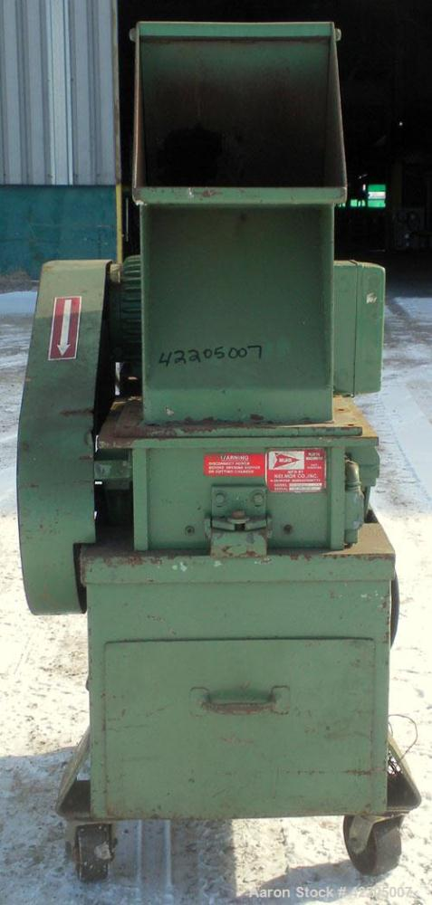 """Used- Nelmore Granulator, Model G1012M1. Approximately 10"""" diameter x 12"""" wide 2 bolt-on blade open rotor. Tilt back pelican..."""