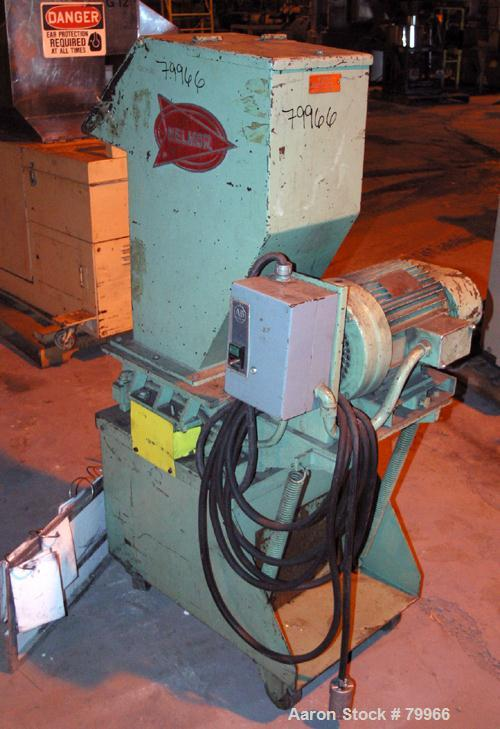 "USED: Nelmor granulator, model G10121M1. 3 bolt-on blade closedrotor, 2 bed knives, pelican style feed with a 12"" wide x 10""..."