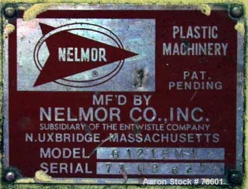 """USED:Nelmor grinder, model G1215MI, 2 bolt-on knives, open rotor,approx 1/4"""" screen holes, pelican style feed, bottom discha..."""