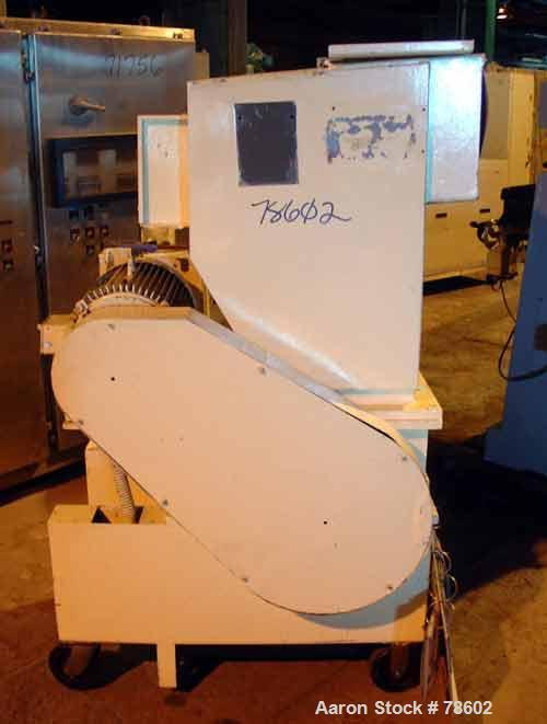 "USED:Nelmor grinder, model G1215MI, 2 bolt-on knives, open rotor,approx 1/4"" screen holes, pelican style feed, bottom discha..."
