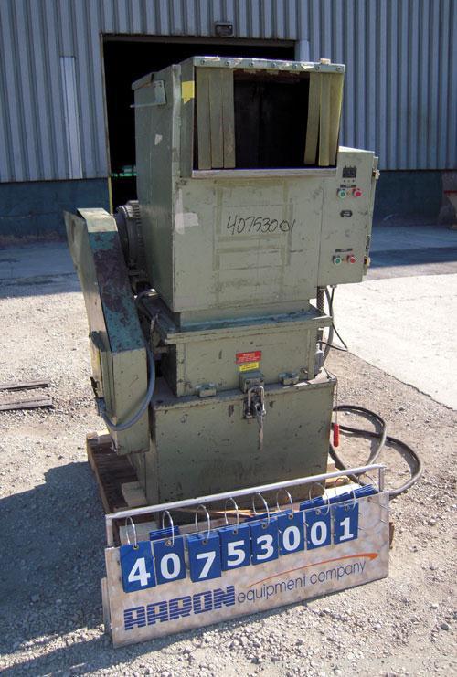 """Used- Nelmore Granulator, Model G1220M1. Approximately 12"""" diameter x 19 1/2"""" wide 3 bolt-on blade open rotor. Tilt back pel..."""